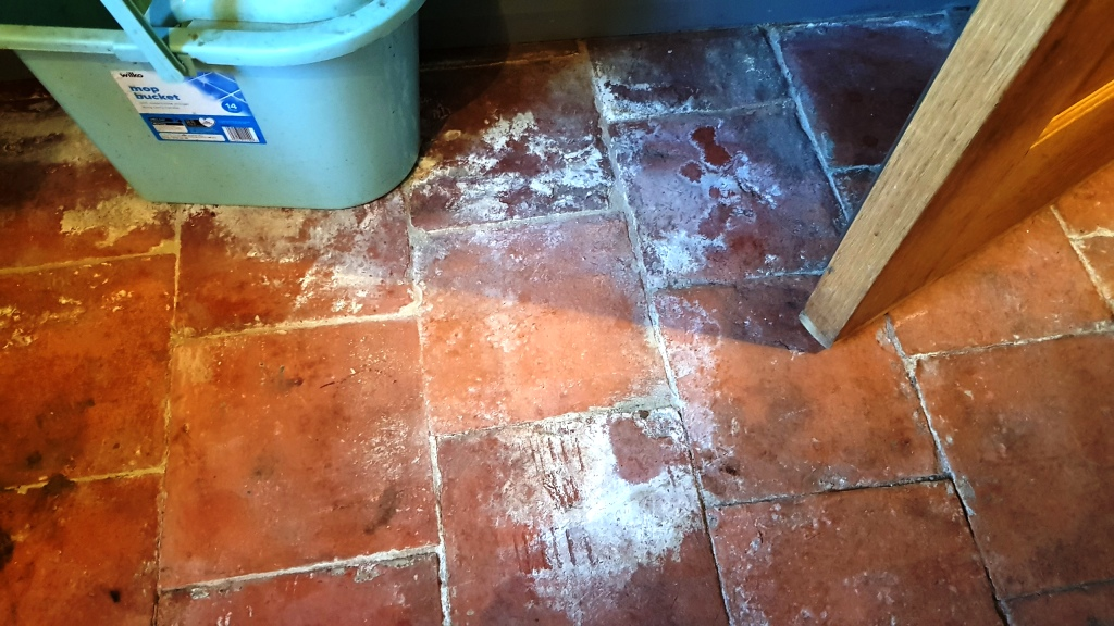 Pamment Tiled Floor Before Restoration in Silkstone
