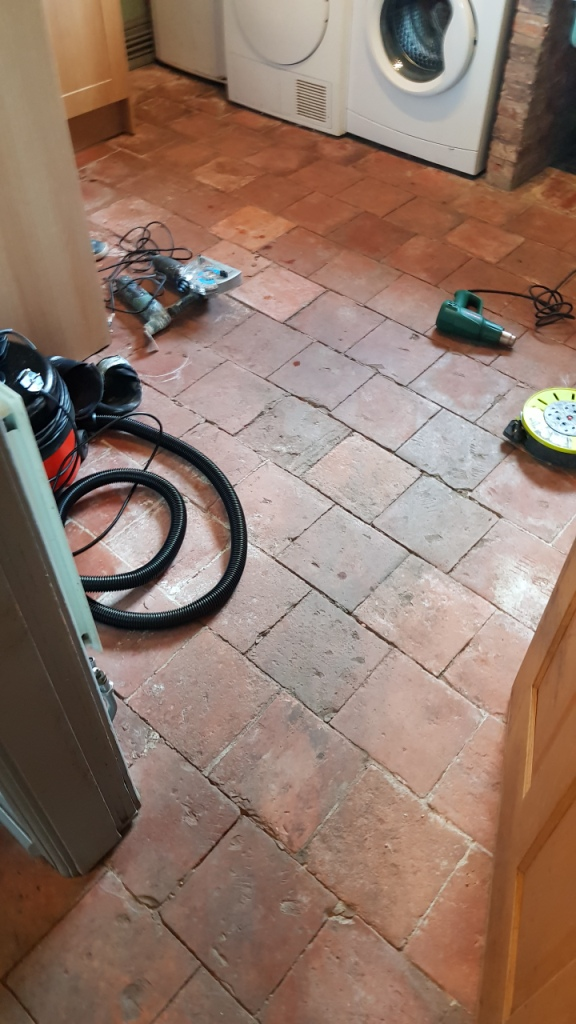 Pamment Tiled Floor During Restoration in Silkstone