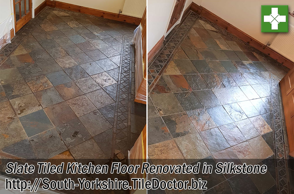Slate Tiled Kitchen Before and After Renovation Silkstone