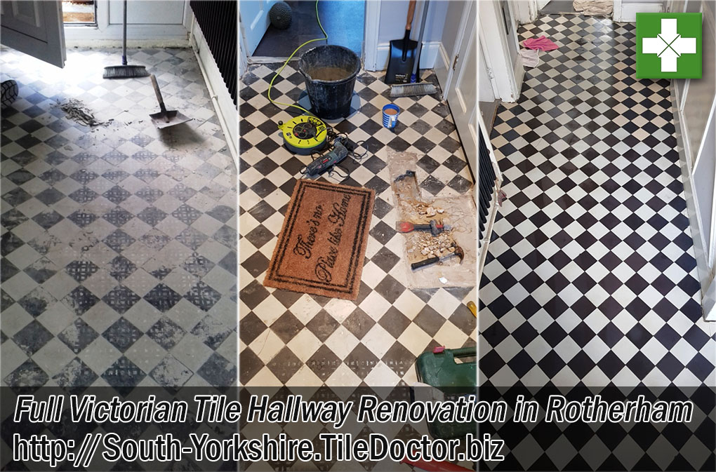 Victorian Tiled Hallway Floor Before and After Restoration Rotherham Yorkshire