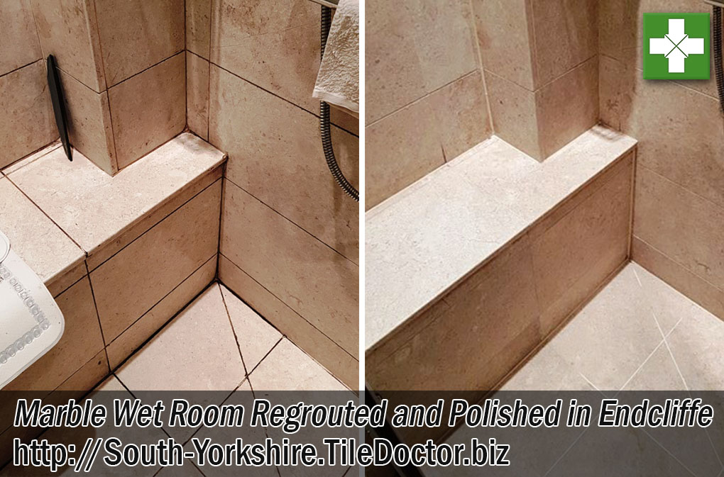 Marble Tiled Wet Room Before and After Renovation Endcliffe