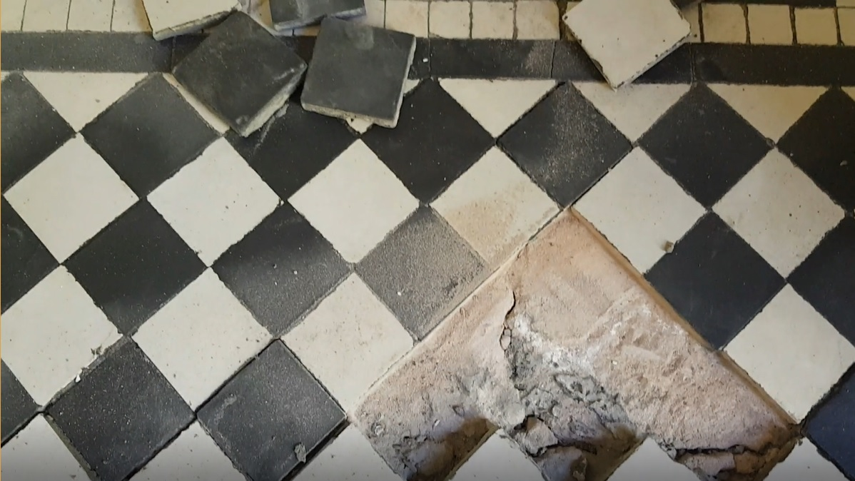 Edwardian Hallway Floor Before Restoration in Wombwell