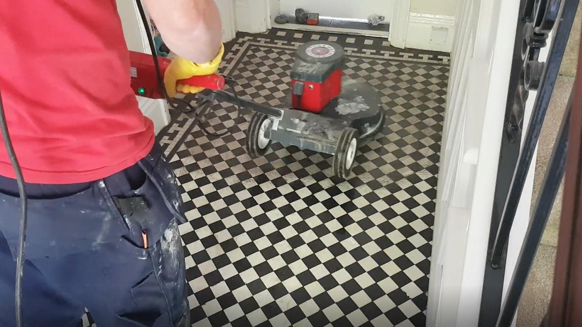 Edwardian Hallway Floor During Restoration in Wombwell
