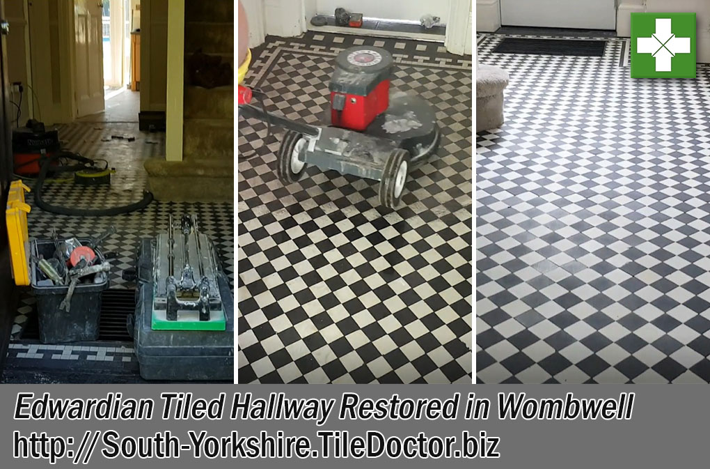 Edwardian Tiled Hallway Before and After Restoration Wombwell
