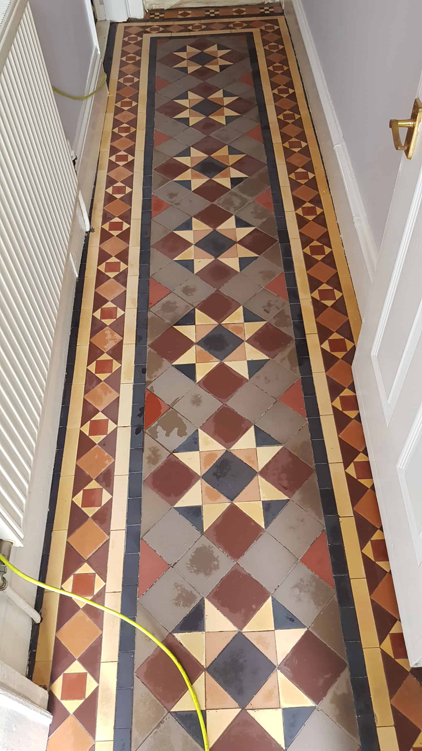 Victorian Tiled Hallway During Cleaning Doncaster