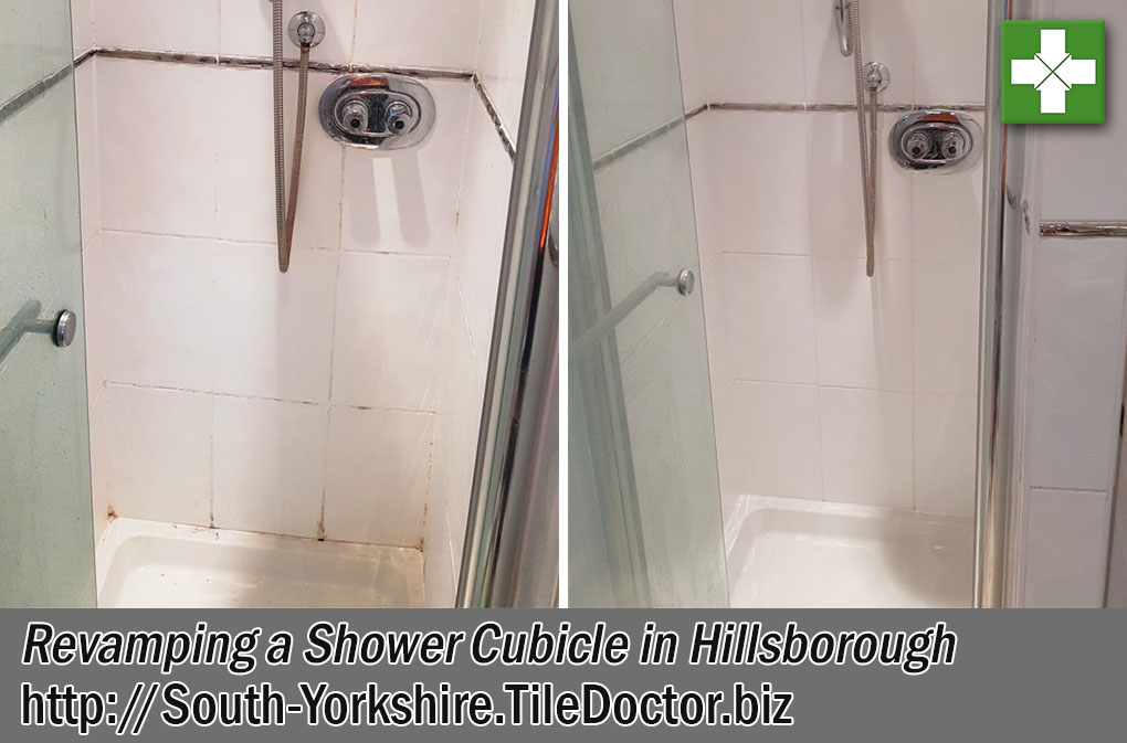 Ceramic Tiled Shower Cubicle Before and After Cleaning Hillsborough