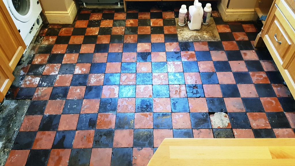 Quarry Tiled Floor Sheffield During Restoration Day 2 After Steam Cleaning