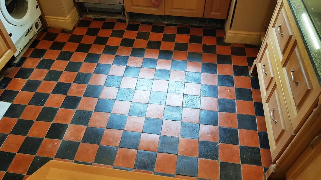 Quarry Tiled Floor Sheffield During Restoration Day 4 After Sealing