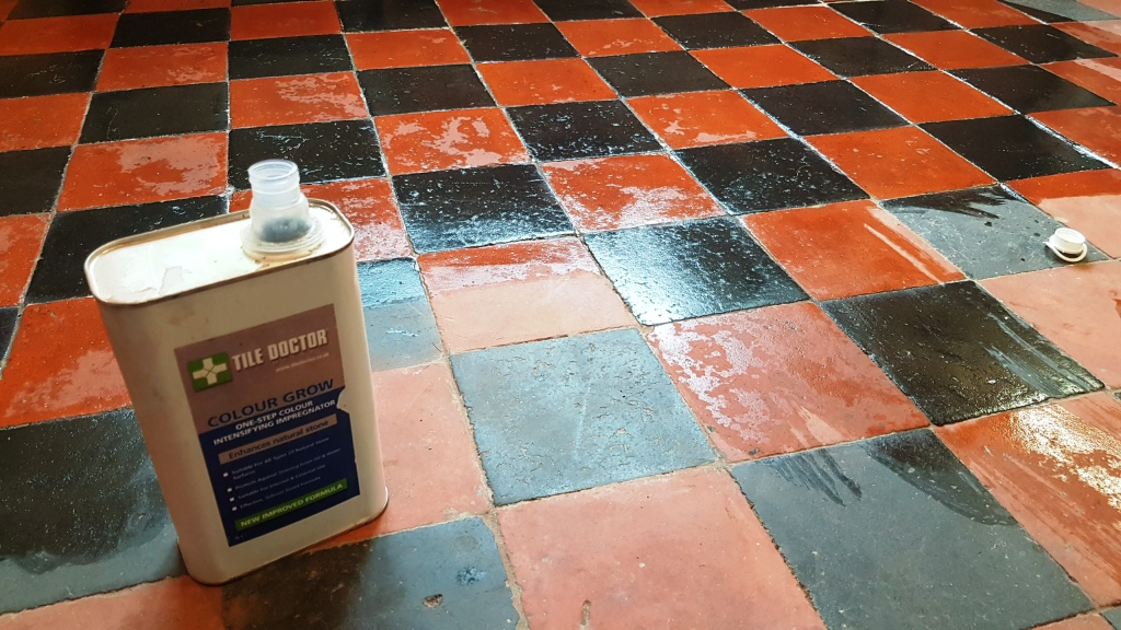 Quarry Tiled Floor Sheffield During Restoration Day 4 Applying Colour Grow