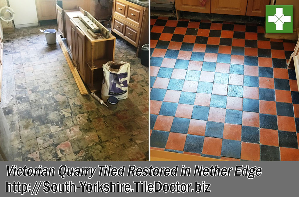 Victorian Quarry Tiled Floor Before and After Renovation Nether Edge