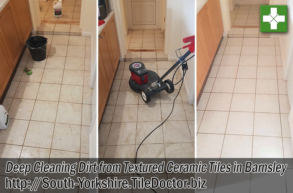 Dirty Textured Ceramic Tiles Before After Cleaning Barnsley South Yorkshire