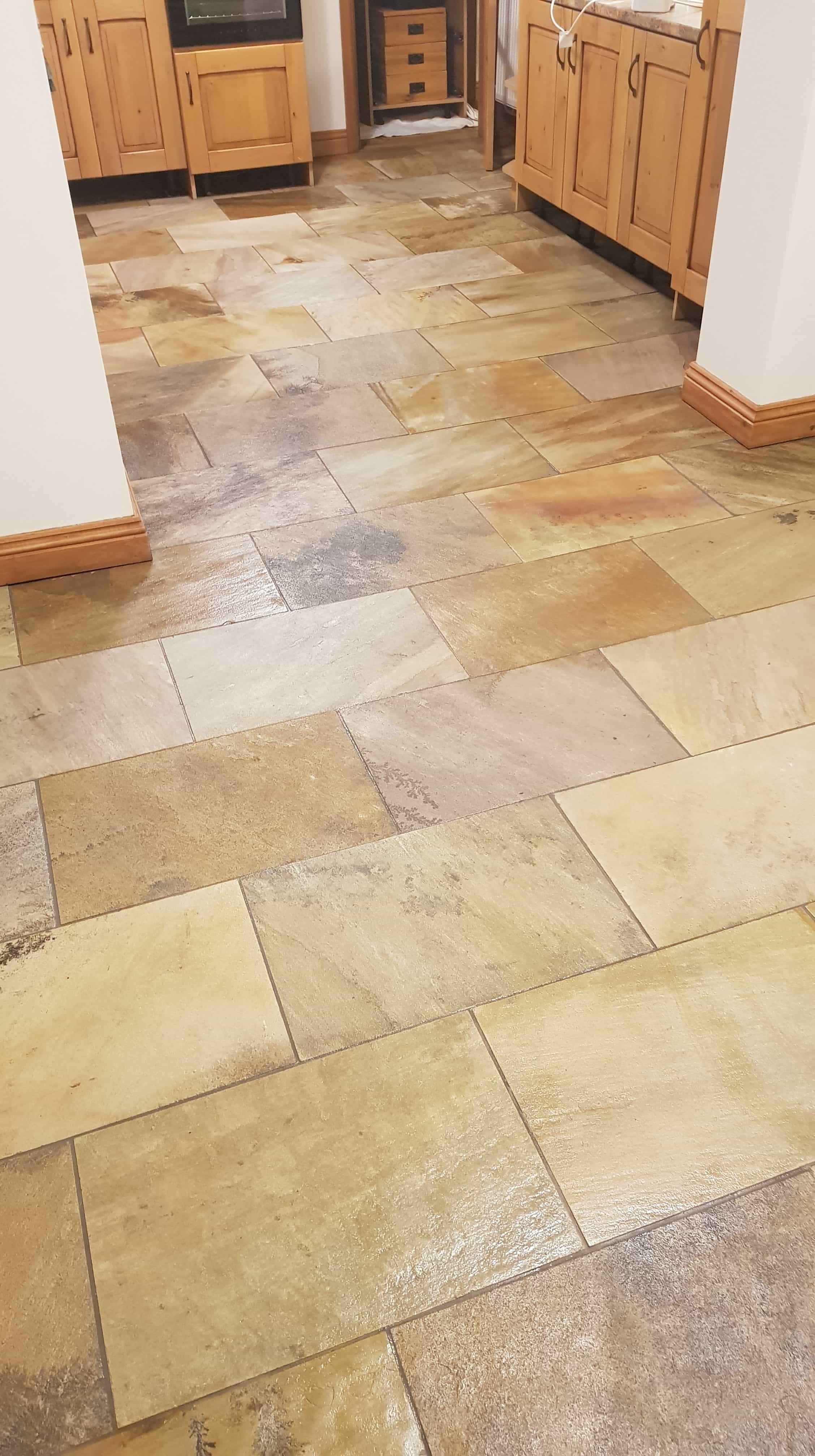 Sandstone Tiled Floor After Renovation in Mapplewell