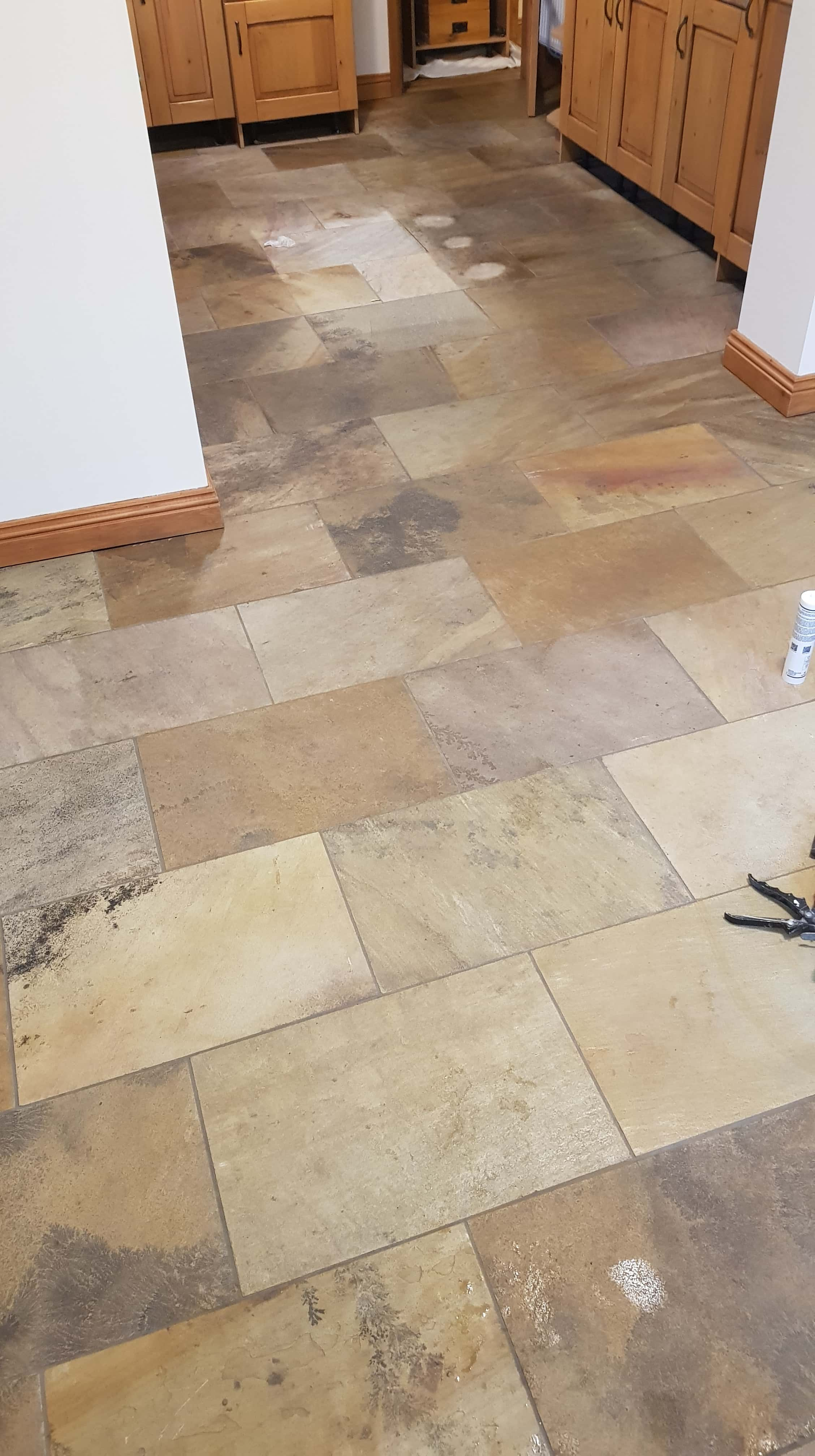 Sandstone Tiled Floor Before Renovation in Mapplewell