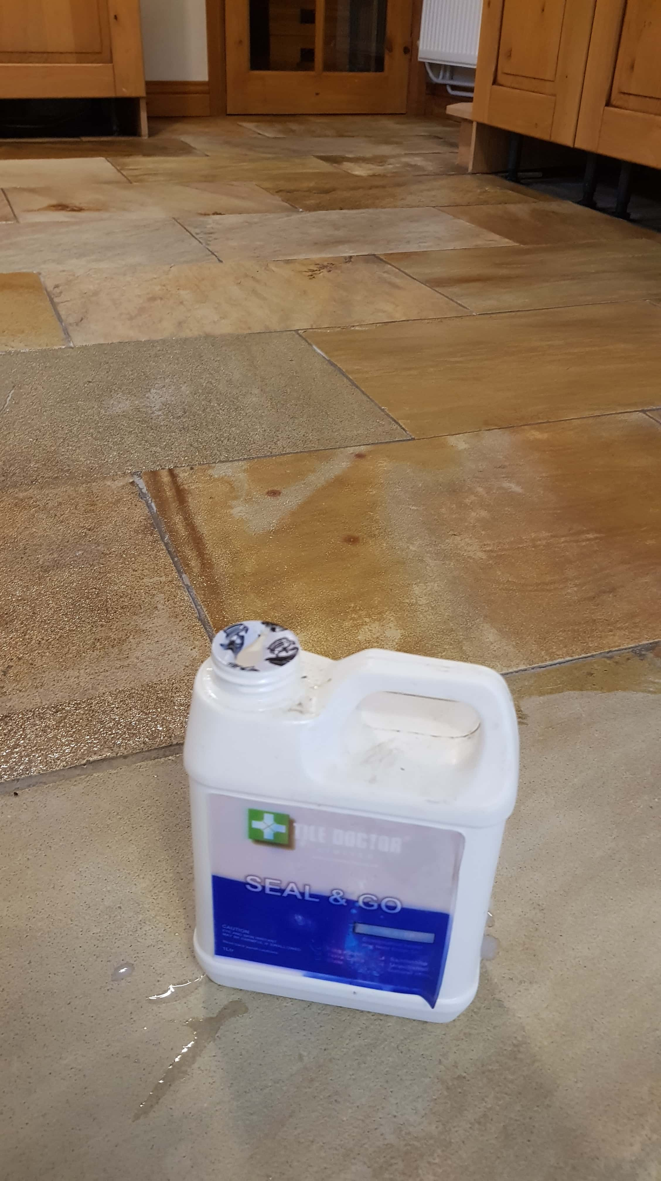 Sandstone Tiled Floor During Sealing in Mapplewell