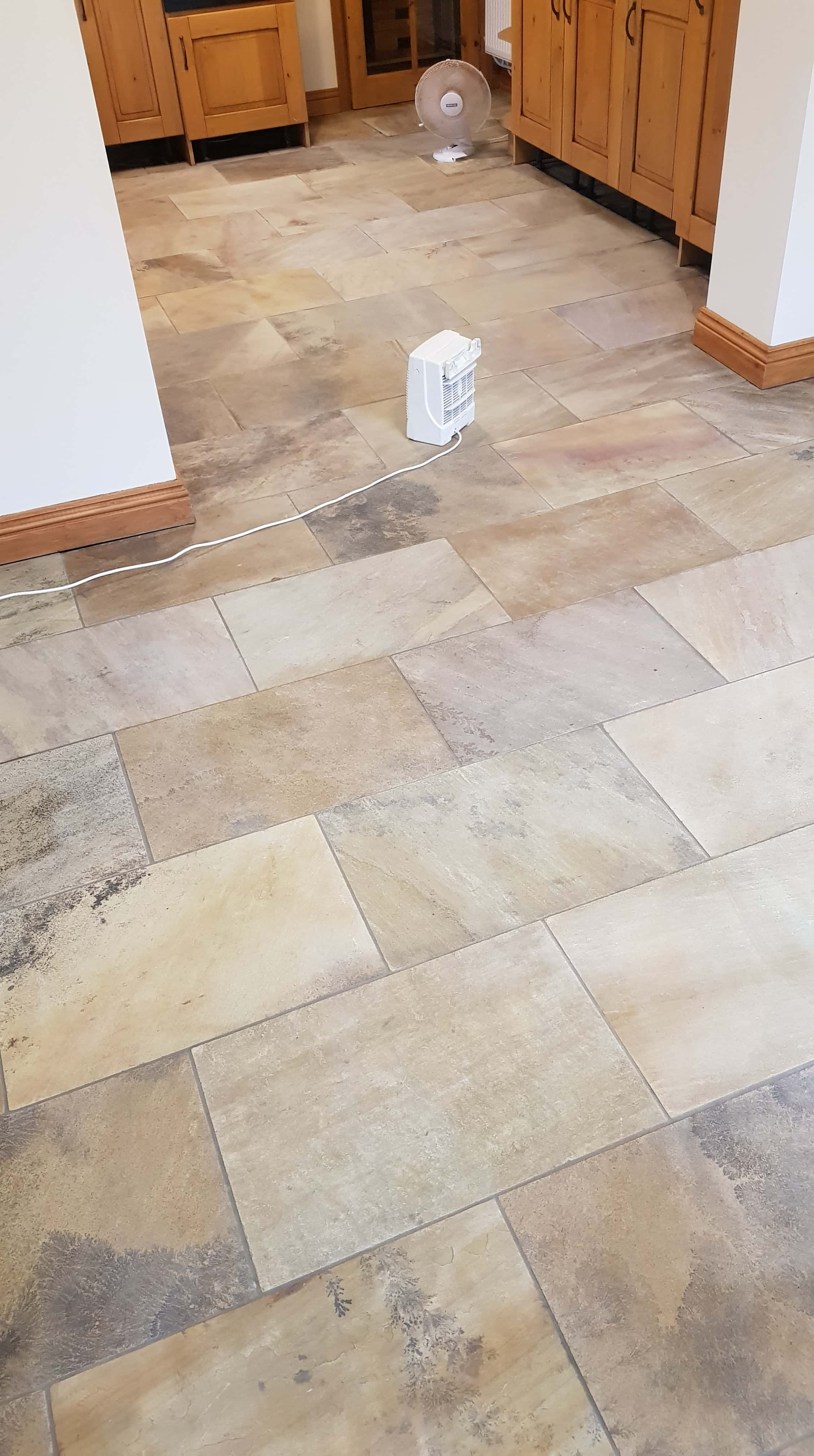 Sandstone Tiled Kitchen Floor After Cleaning in Mapplewell