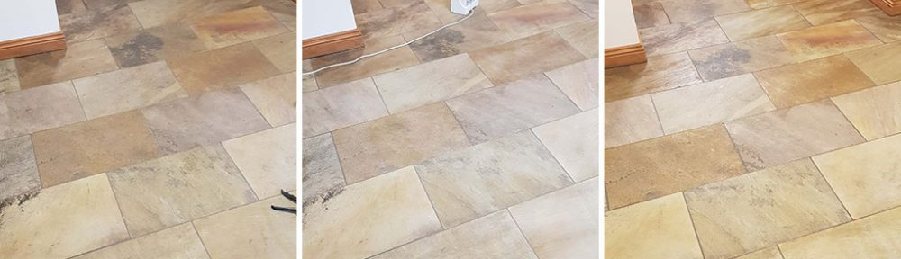 Sandstone Tiled Kitchen Floor Renovated in Mapplewell, Barnsley