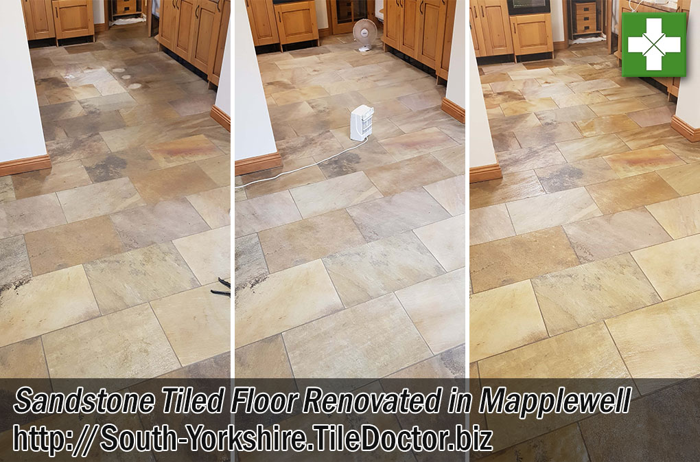 Sandstone Tiled Kitchen Floor Before After Renovation Mapplewell