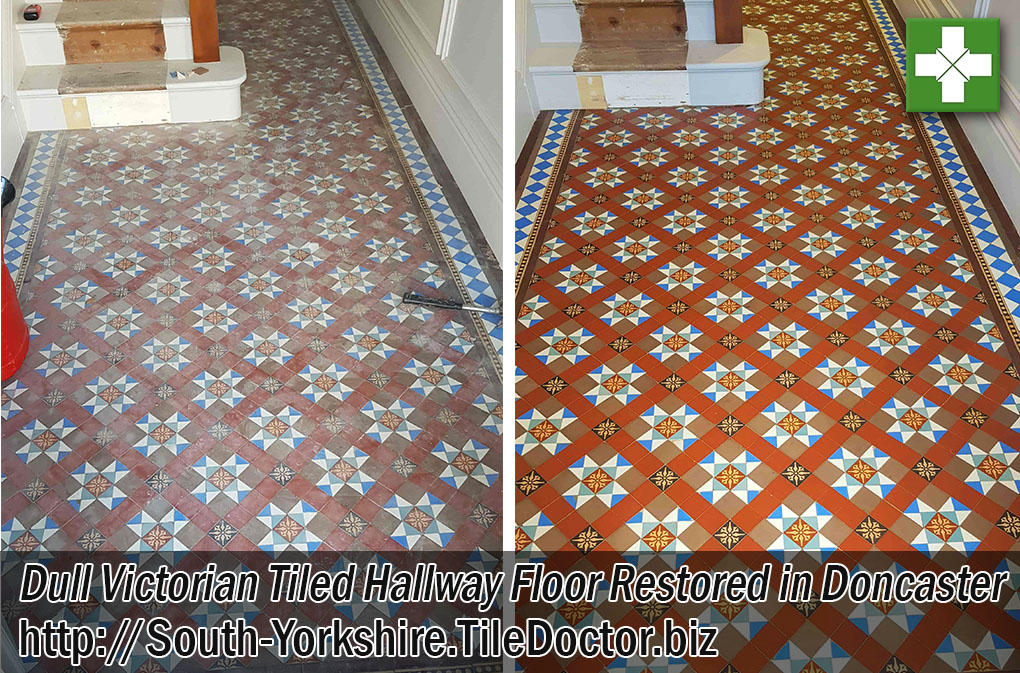Victorian Tiled Hallway Floor Before and After Restoration Doncaster