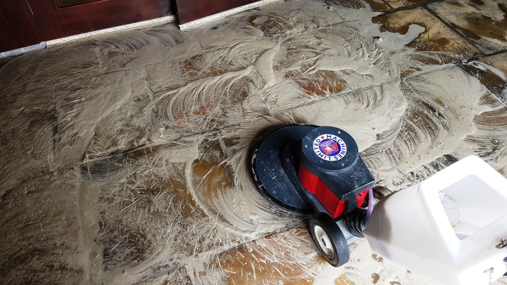 Office Yorkstone Floor During Cleaning Norton Sheffield