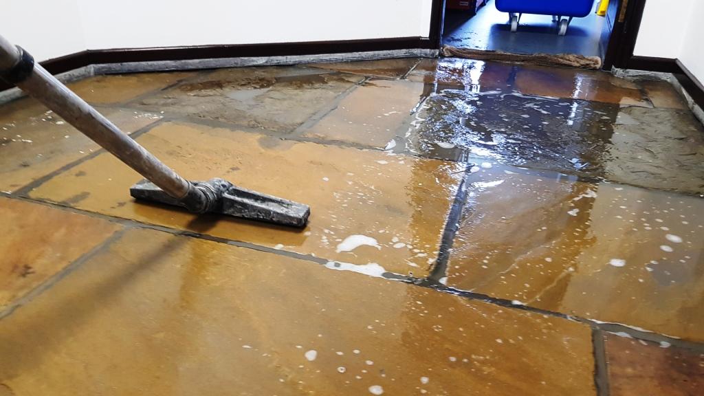 Office Yorkstone Floor During Rinsing Norton Sheffield