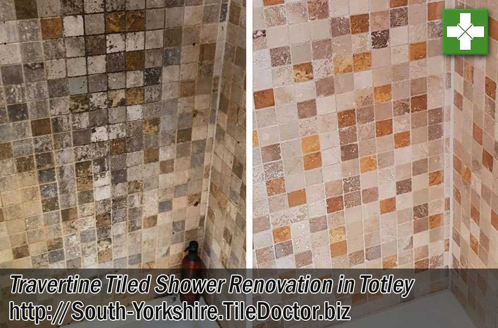 Travertine Tiled Shower Before After Restoration Totley Sheffield