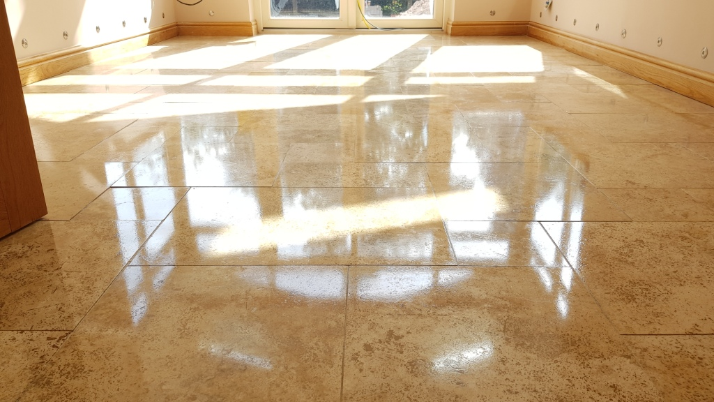 Travertine Tiled Floor After Polishing in Whirlow Sheffield