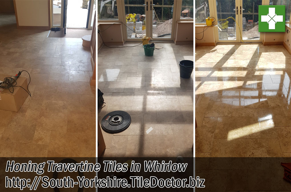Travertine Tiled Floor Before After Polishing Whirlow