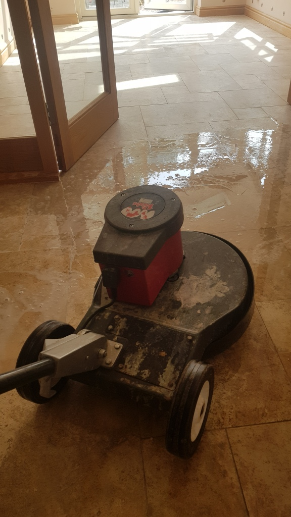 Travertine Tiled Floor During Cleaning in Whirlow Sheffield
