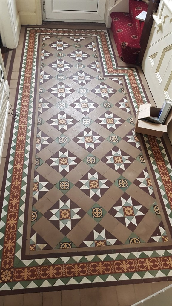 Victorian Tiled Floor Before Cleaning Dinnington