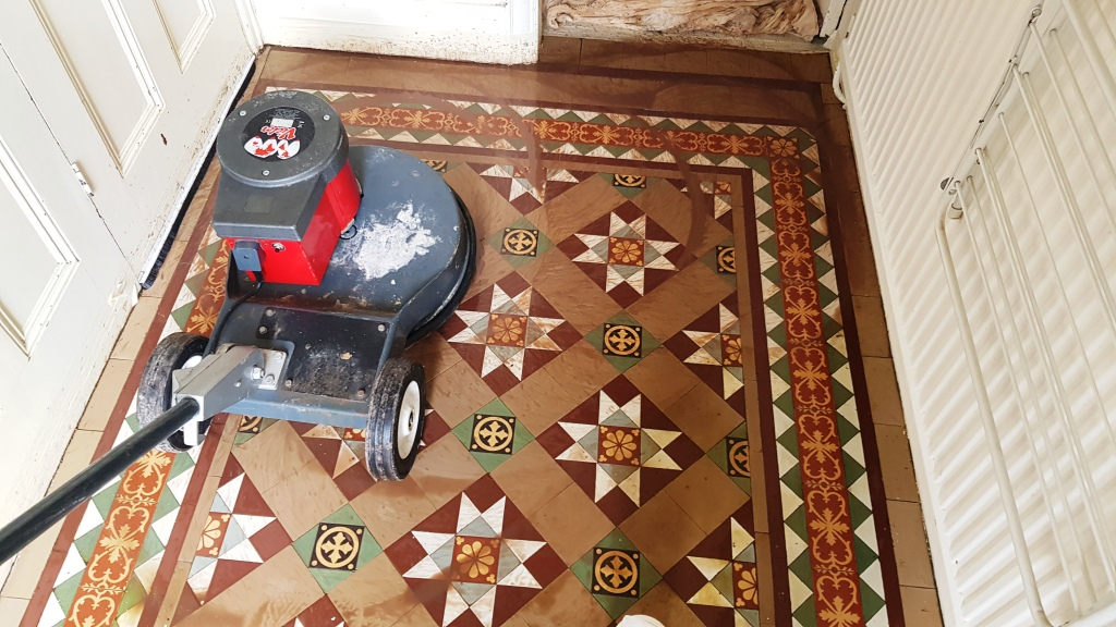 Victorian Tiled Floor During Cleaning Dinnington