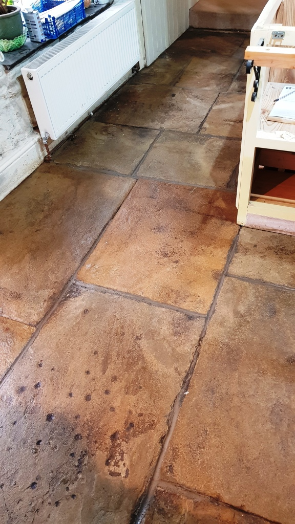 400-Year Old Flagstones After Cleaning Oughtibridge
