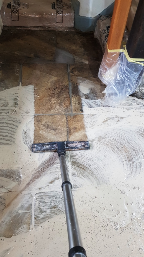 400-Year Old Flagstones During Cleaning Oughtibridge