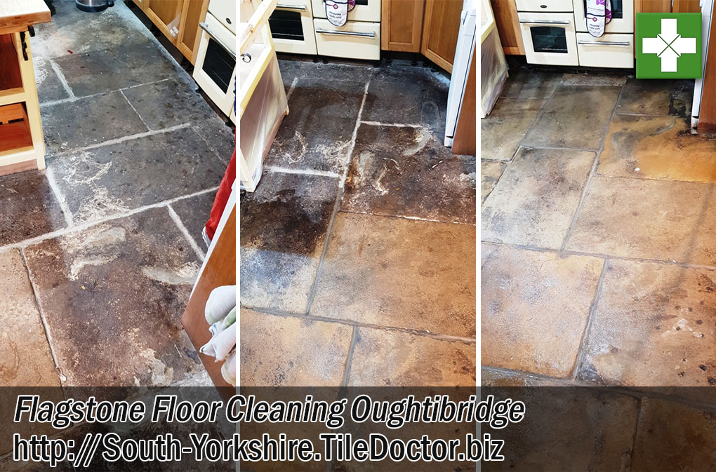 Flagstone Kitchen Floor Before After Cleaning Oughtibridge