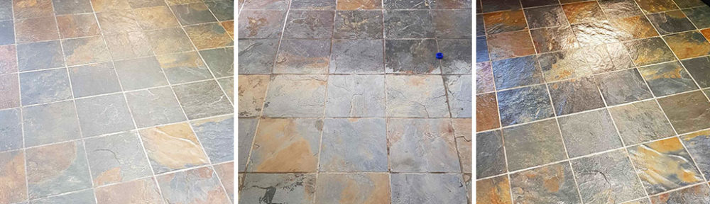 Dull and Dirty Slate Floor Stripped, Cleaned and Sealed in Darfield, Barnsley