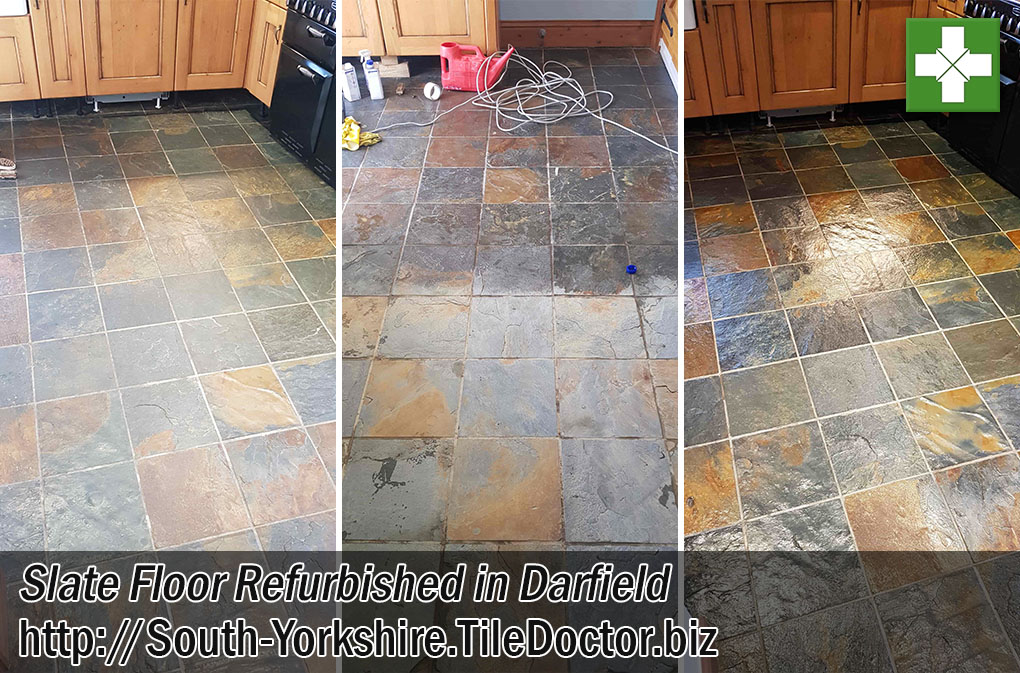 Slate Tiled Floor Before During After Refurb Darfield
