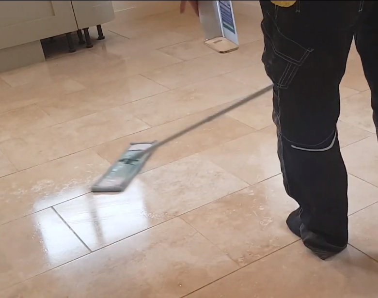 Travertine Floor During Sealer Application Stocksbridge