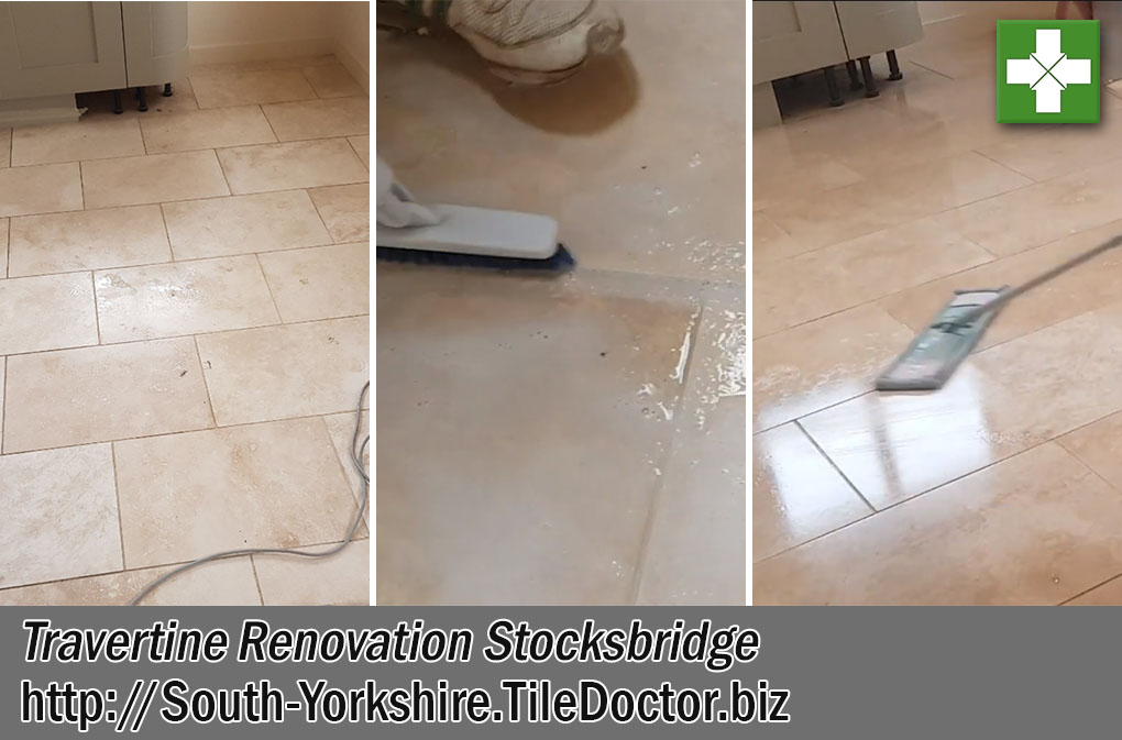 Travertine Tiled Kitchen Floor Before After Renovation Stocksbridge