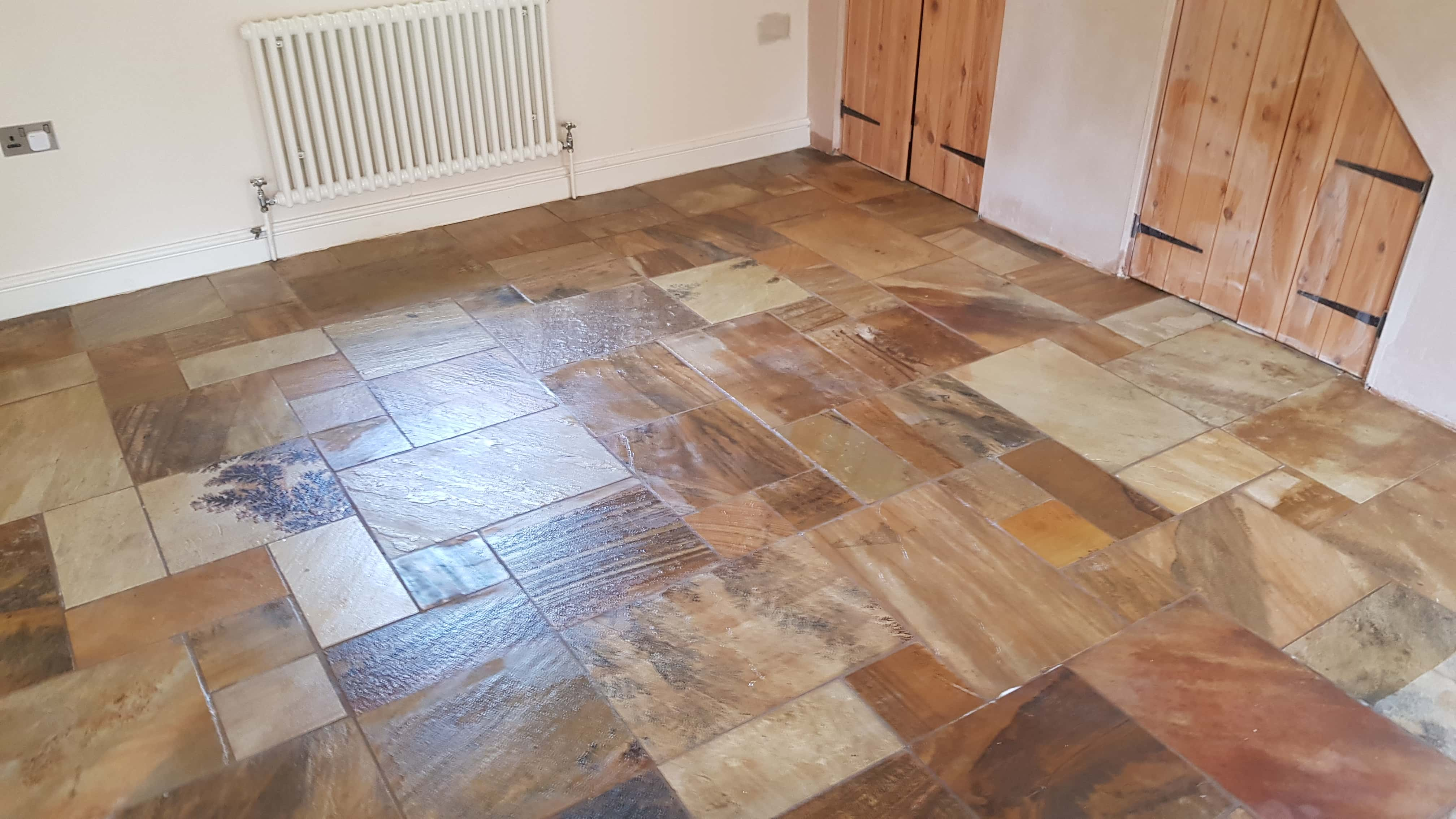Sandstone Floor After Clean and Seal Conisbrough Doncaster