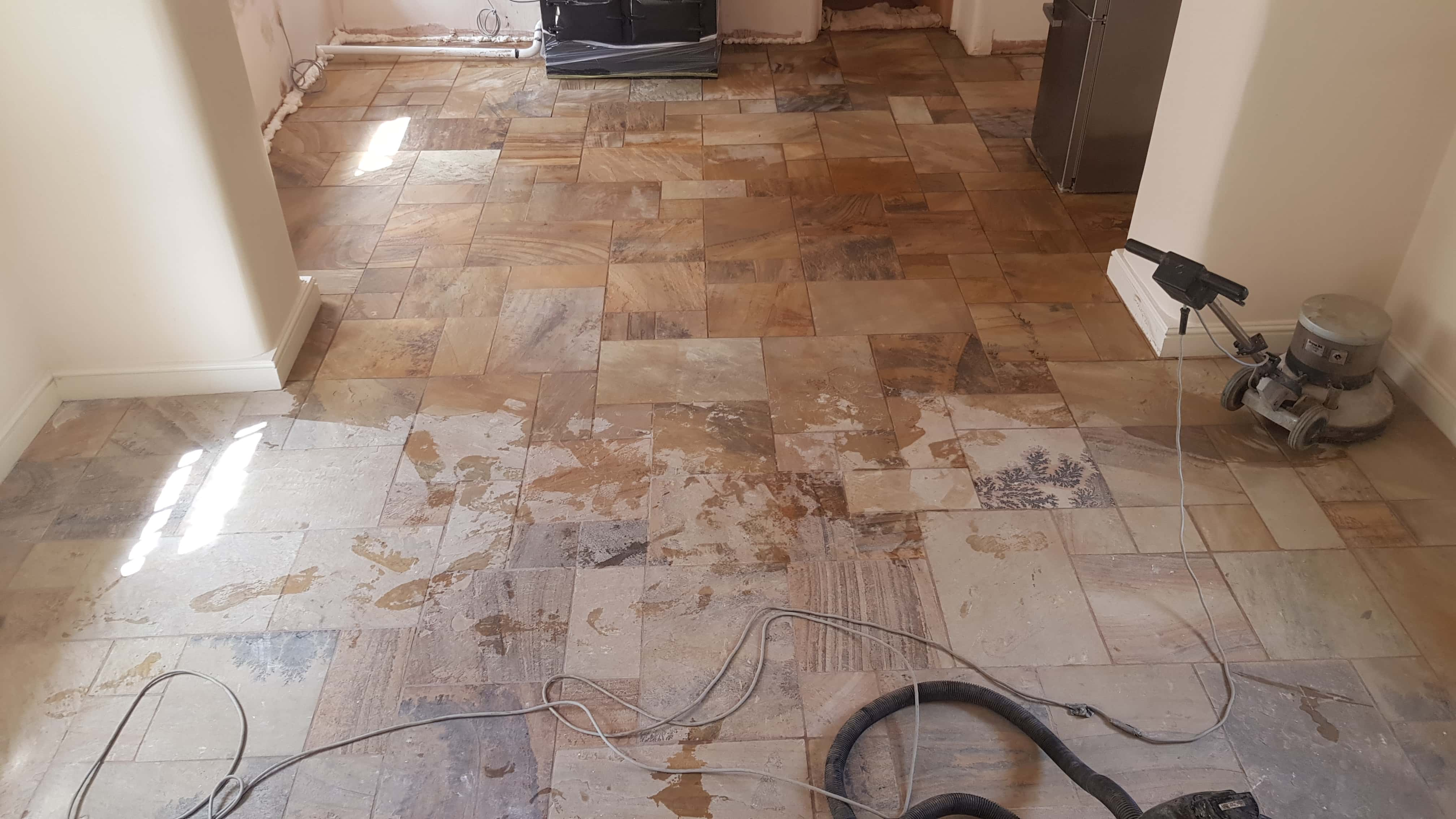 Sandstone Floor During Clean and Seal Conisbrough Doncaster