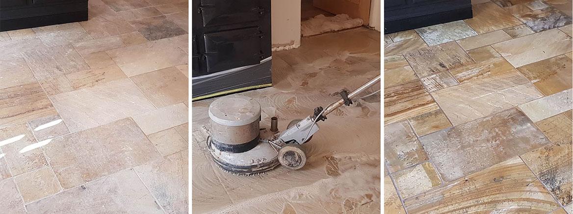 Sandstone Kitchen Floor Renovated in Conisbrough