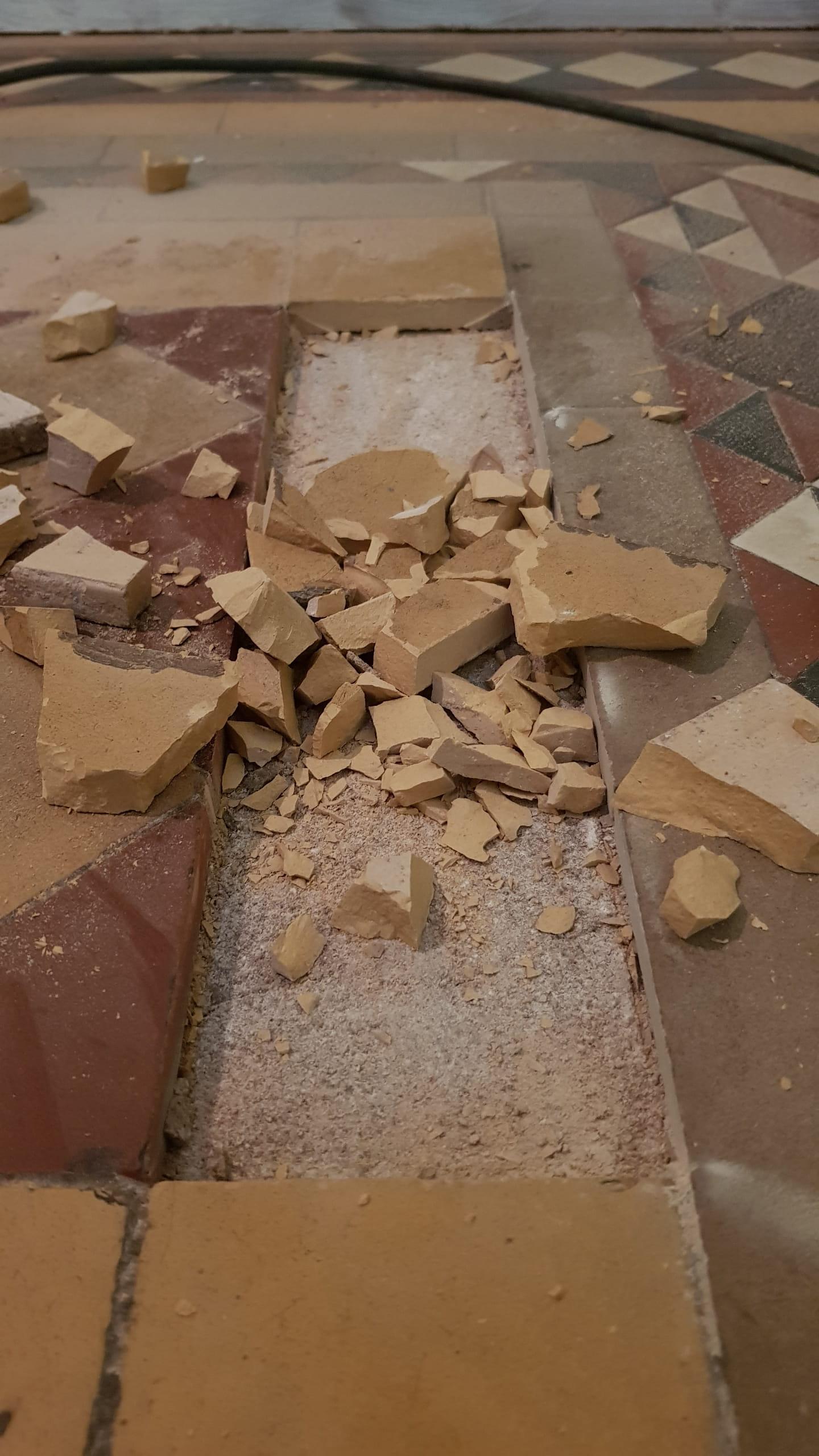 Victorian Hallway Showing Broken Tile Removal Doncaster Railway Property