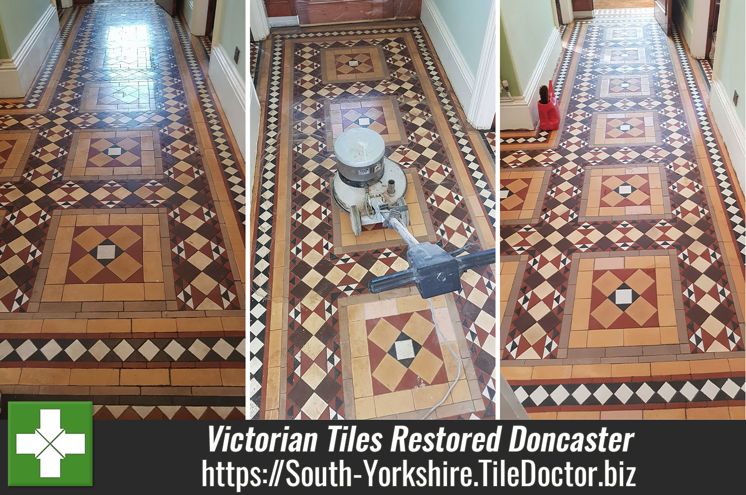 Victorian Hallway Tile Restoration at Ex Railway Property in Doncaster