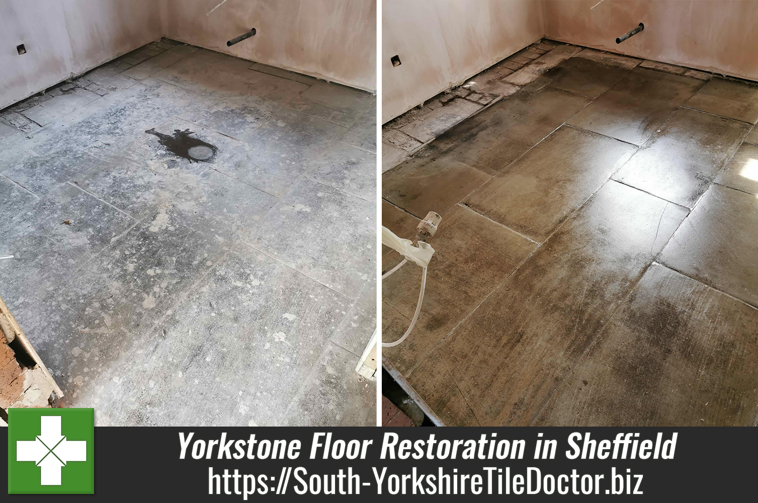 Gorgeous Yorkstone Floor uncovered at Sheffield Rental Property