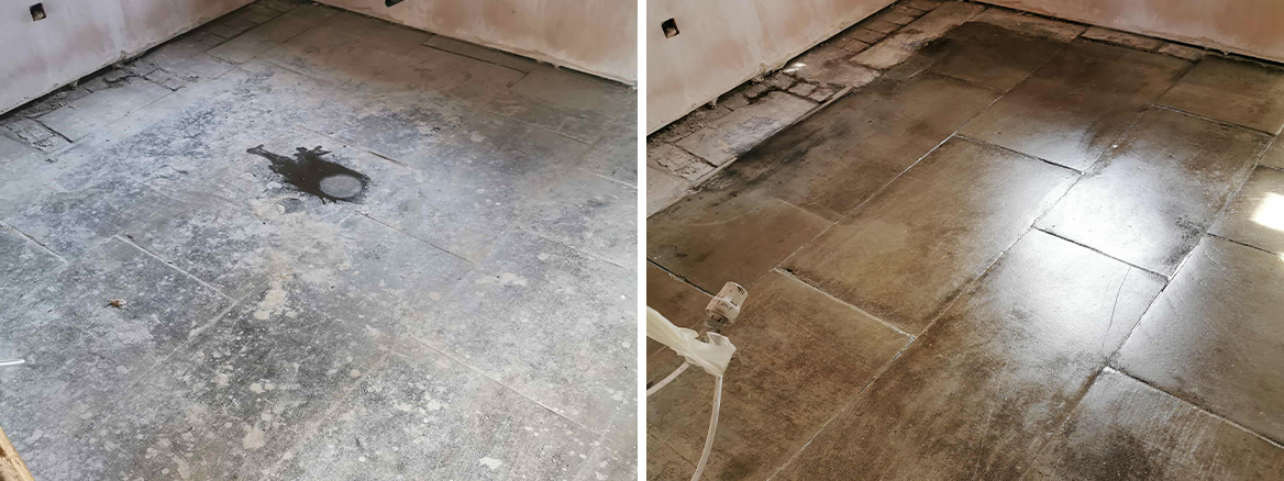 Yorkstone Kitchen Floor Restored in Sheffield