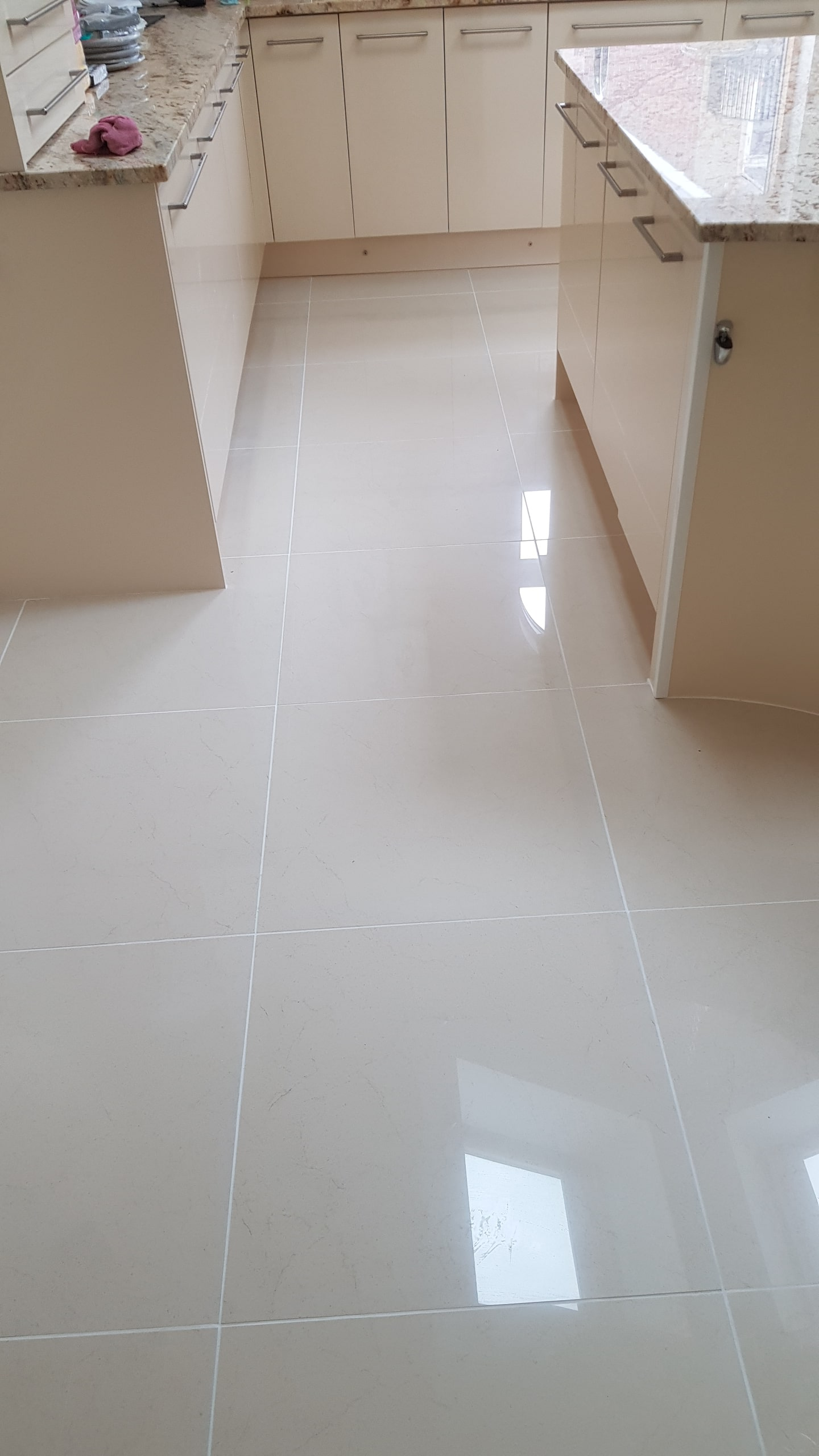 Porcelain Tiled Floor After Tile Replacement and Grout Colouring Sheffield