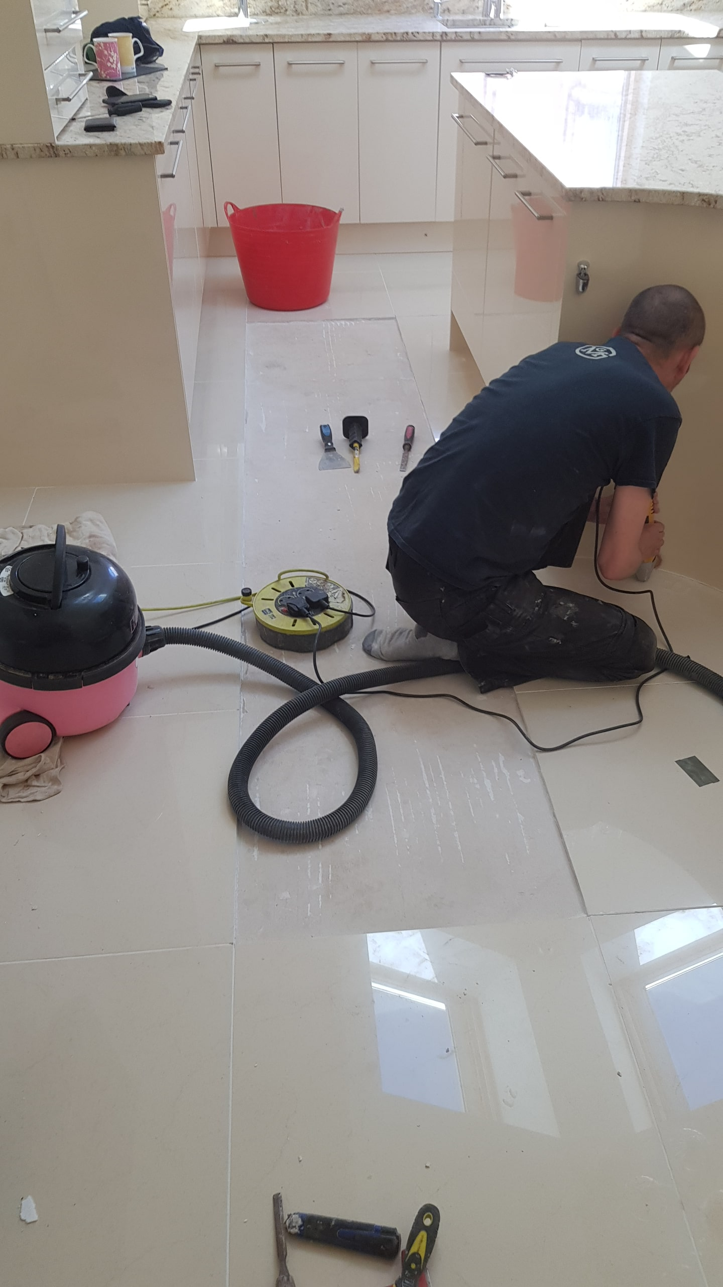 Porcelain Tiled Floor During Tile Removal Sheffield