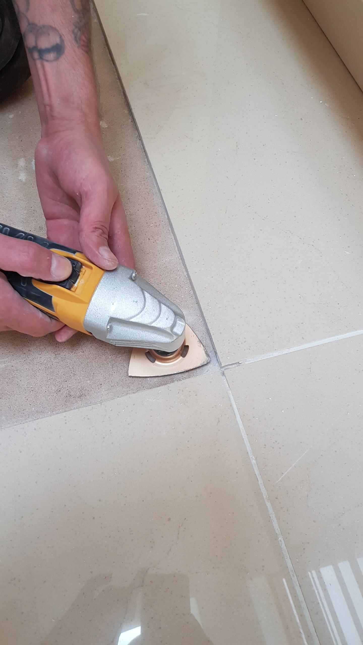 Porcelain Tiled Floor During Tile Removal Sheffield