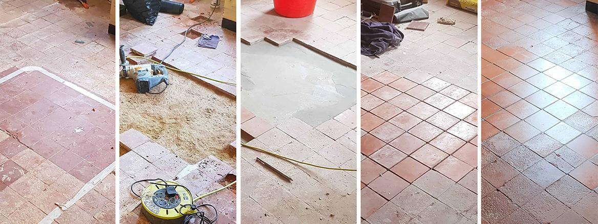 Old Quarry Tiled Floor Restoration in Askern near Doncaster