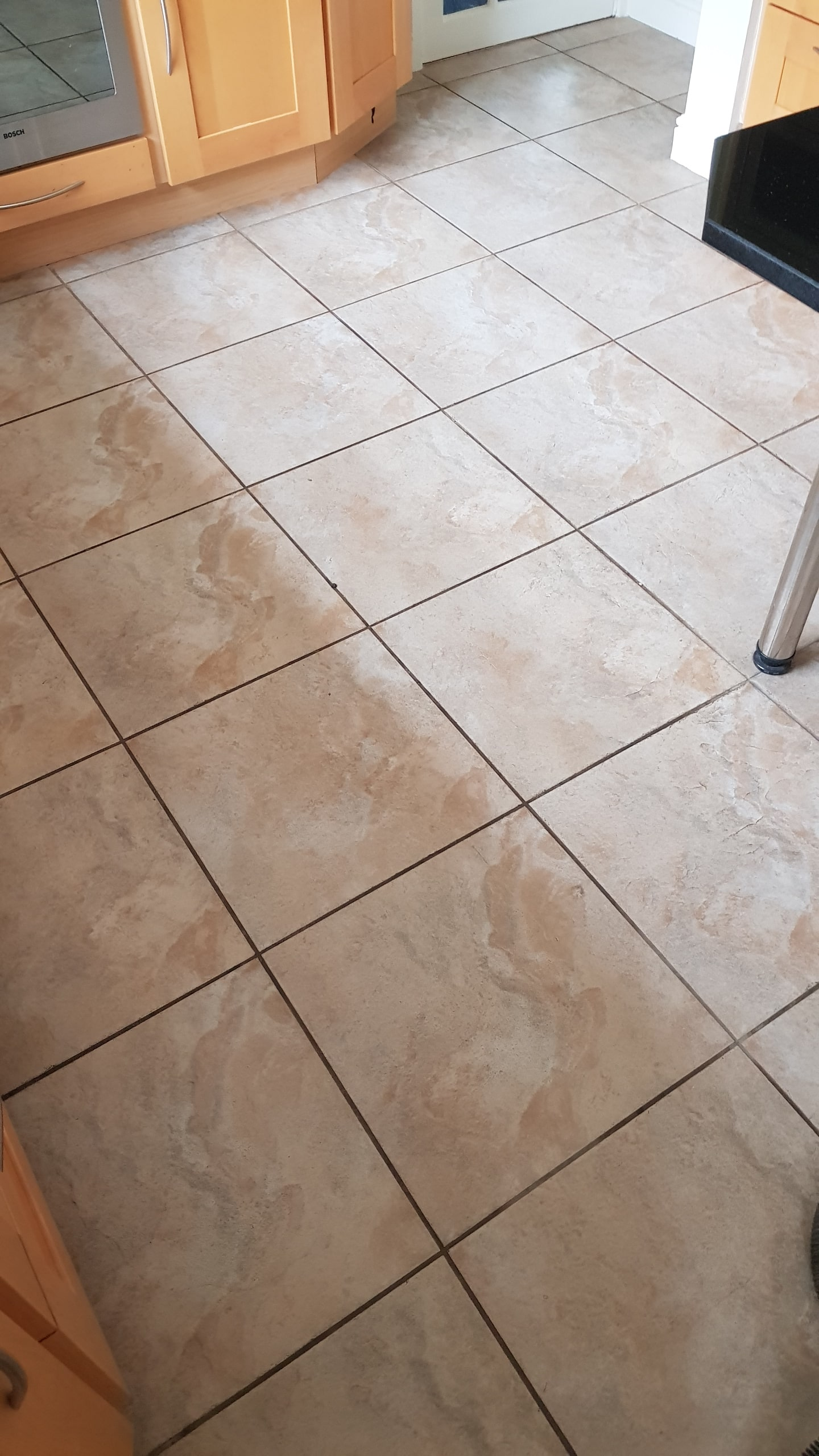 Ceramic Tiled Floor Before Grout ReColour Wickersley Rotherham