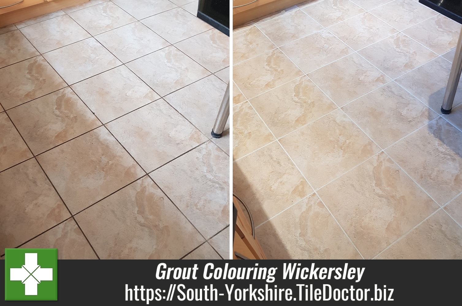 Light Grey Grout Re-Colouring in a Wickersley Kitchen